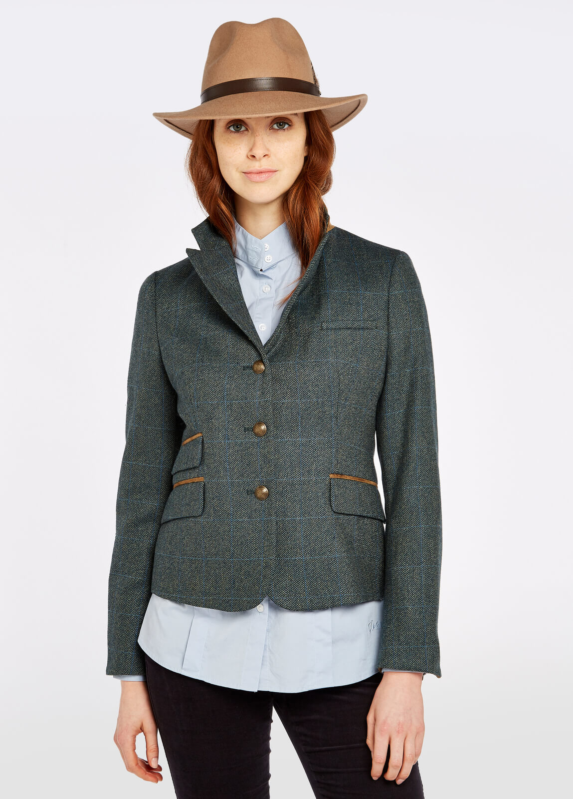 Dubarry_Buttercup_Tweed_Jacket_Mist_on_model