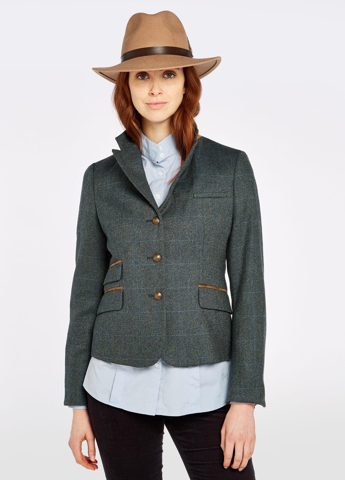 Dubarry_Buttercup_Tweed_Jacket_Mist_on_model