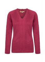 Carolan Women's V-neck Knitted Sweater - Merlot Multi