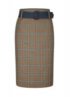 Arrowgrass Knee Length Tweed Skirt - Olive