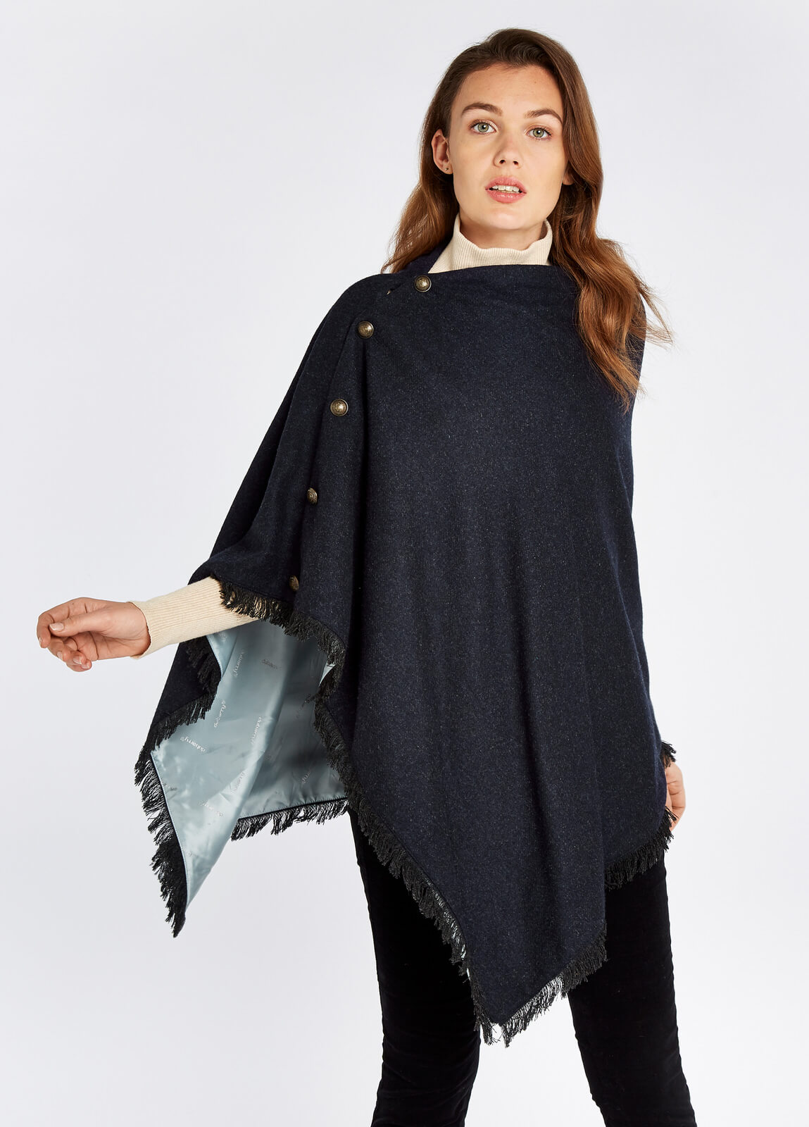 Dubarry_Hazelwood_Tweed_Poncho_Navy_on_model