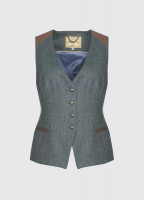 Daisy Fitted Tweed Waistcoat - Mist