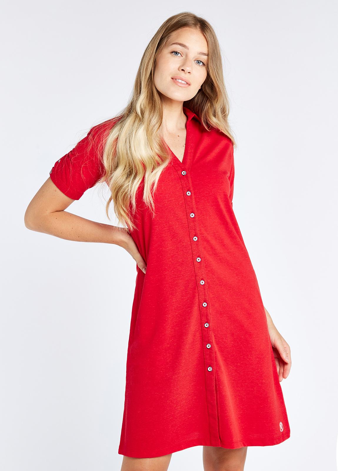 Druid Shirt Dress - Cardinal