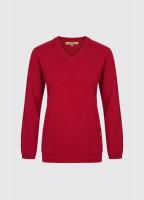Flaherty Ladies Knitted Lambswool Jumper - Crimson