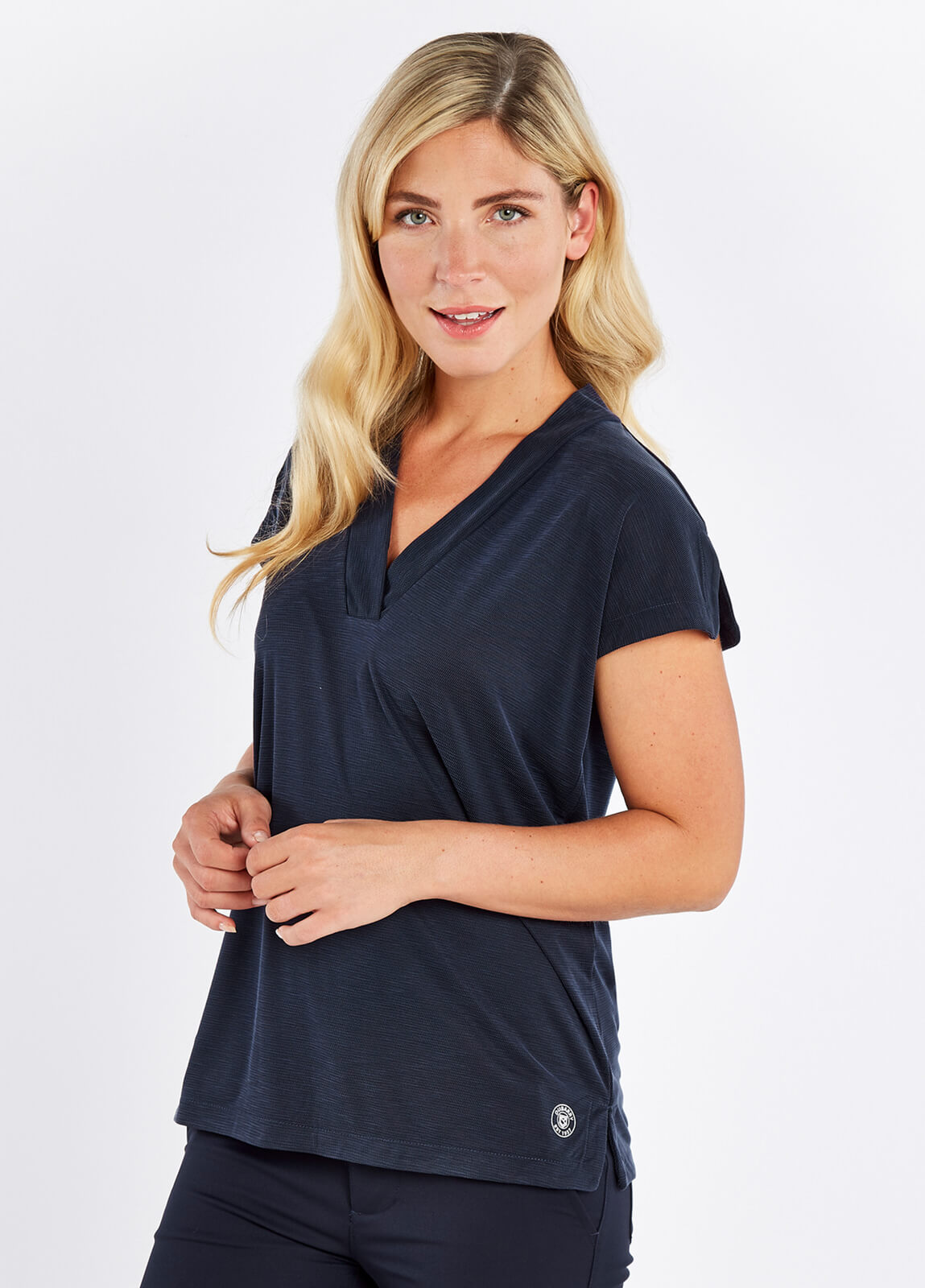 Dubarry_Coolestown_Cap_Sleeve_Top_Navy_on_model