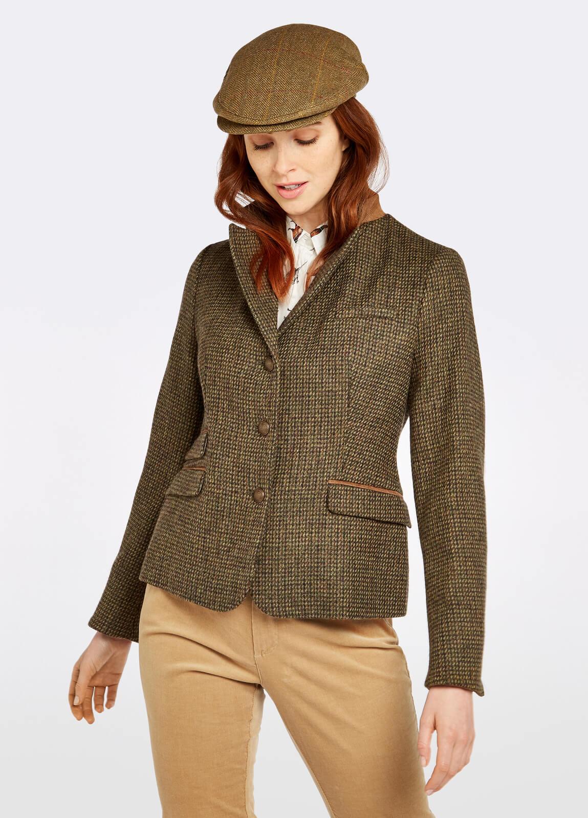 Dubarry_Buttercup_Tweed_Jacket_Heath_on_model
