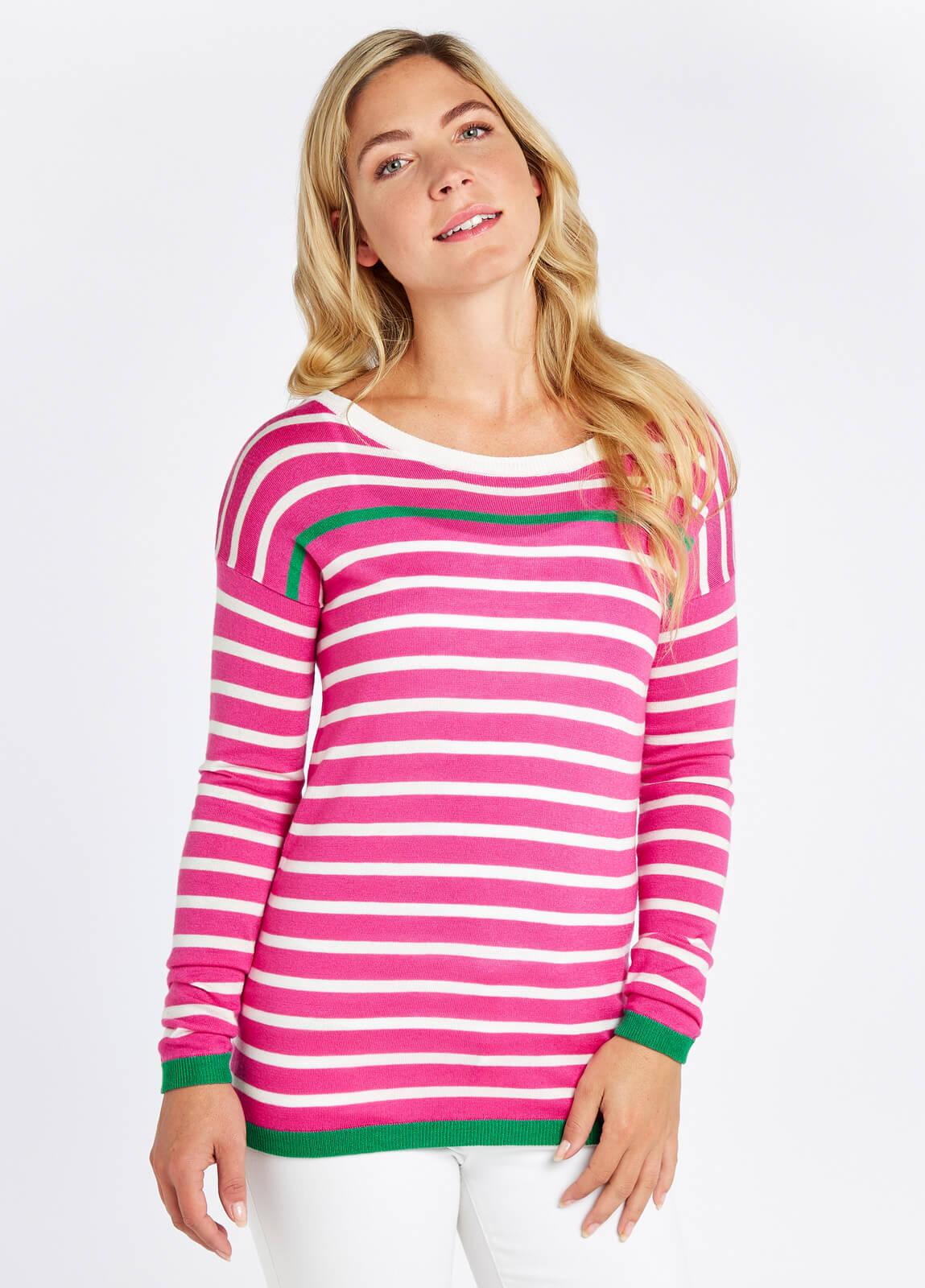 Dubarry_Leixlip_Sweater_Orchid_Multi_on_model