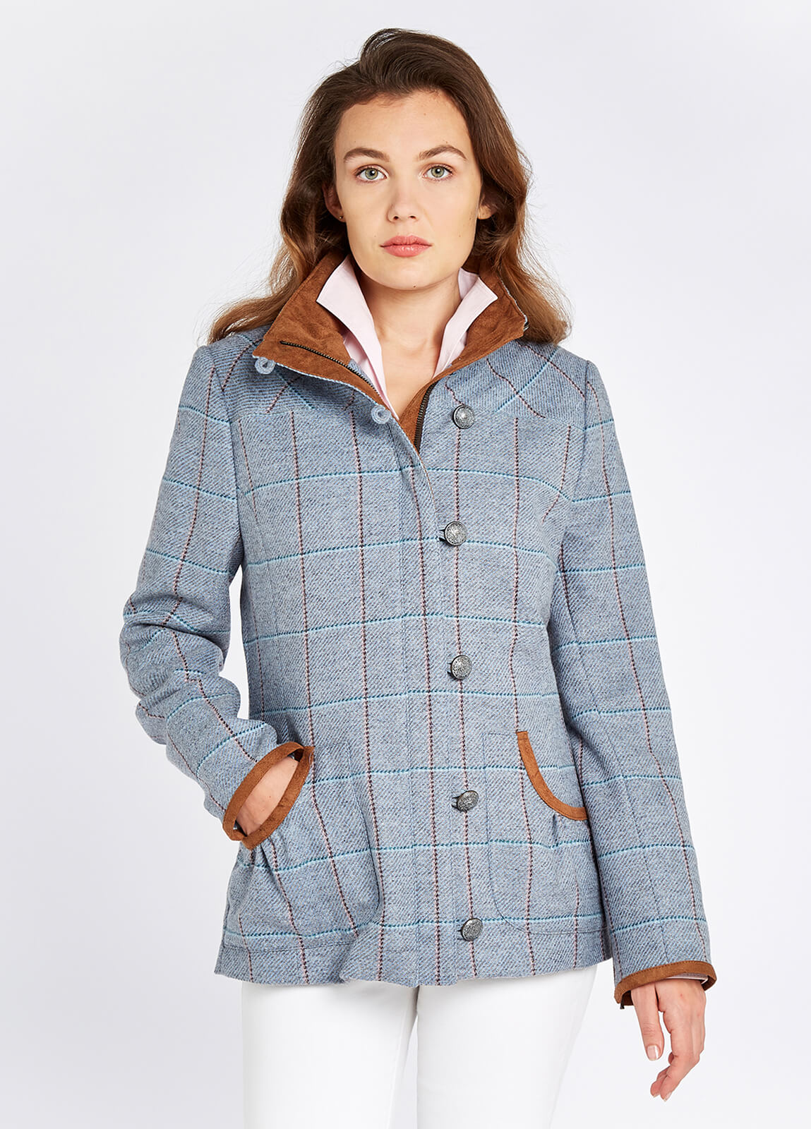 Bracken Tweed Coat - Blue Heather