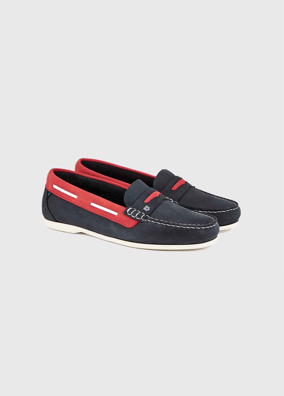 Belize Deck Shoe - Denim/Red