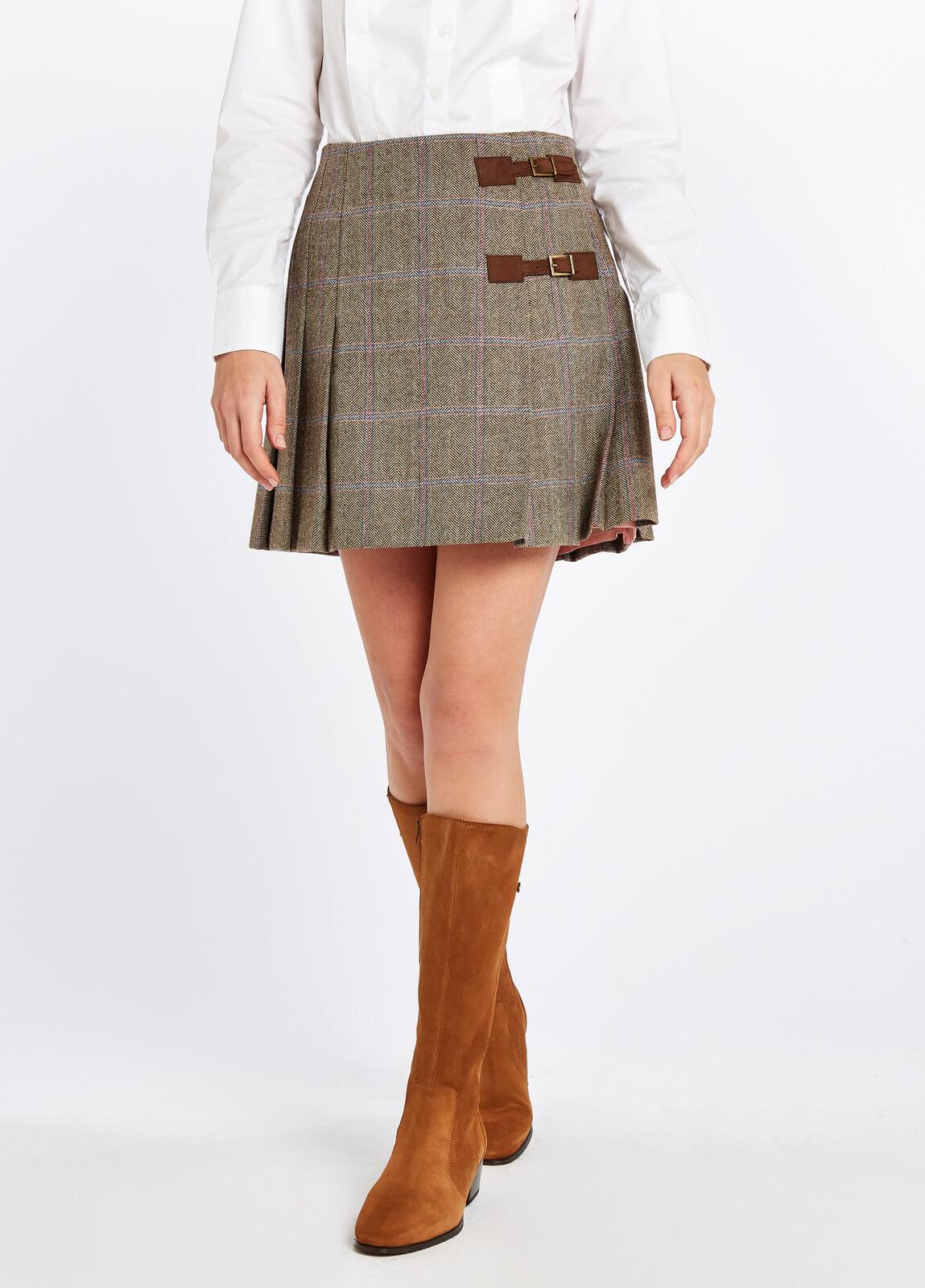 Dubarry_Blossom_Tweed_Skirt_Woodrose_on_model