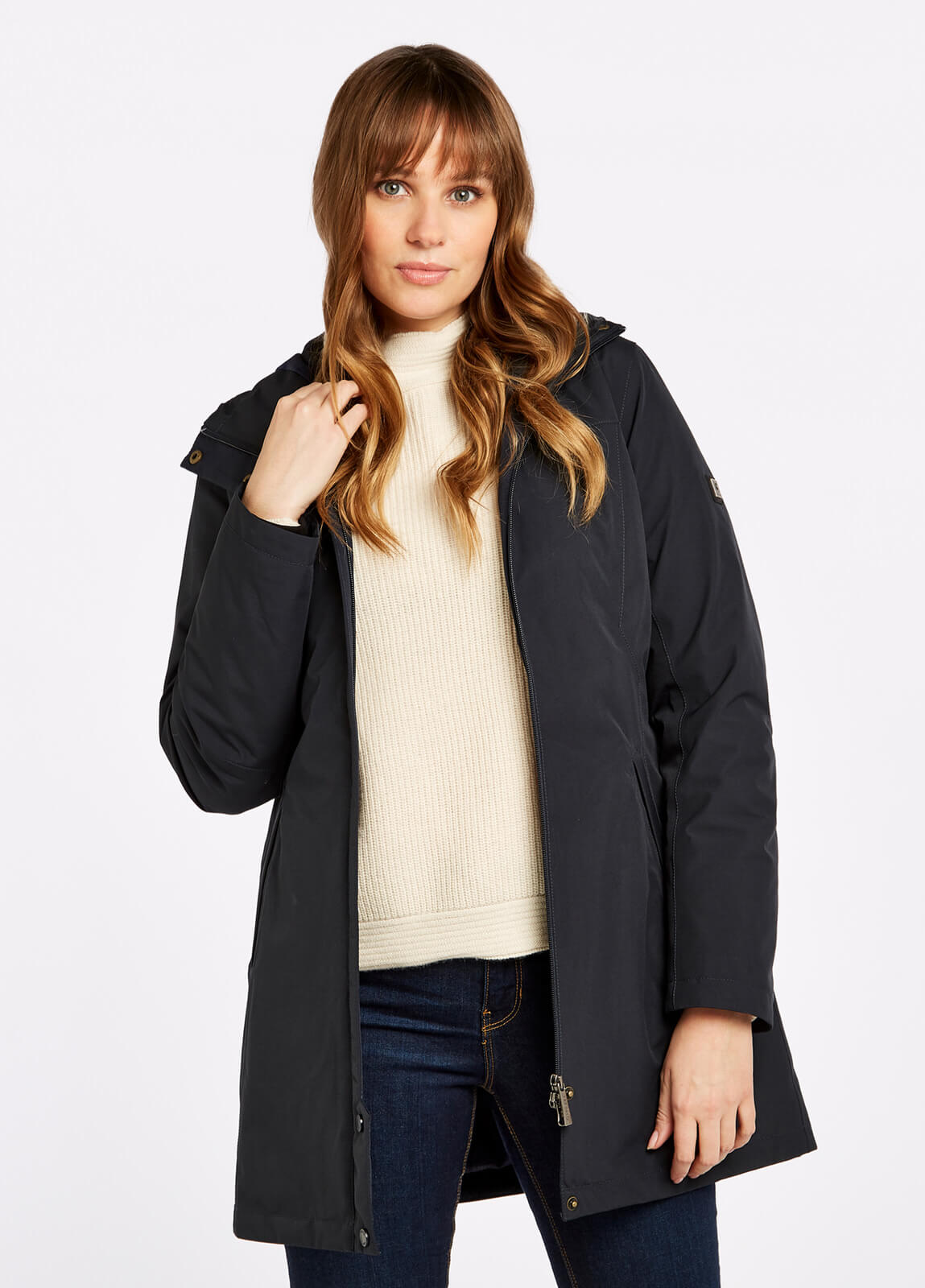 Dubarry_Bunratty_Travel_Coat_Navy_on_model