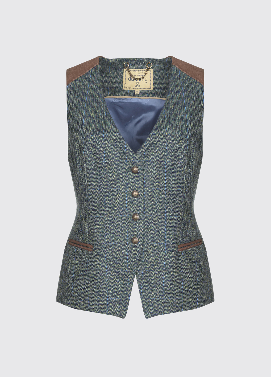 Daisy Fitted Tweed Waistcoat - Mist