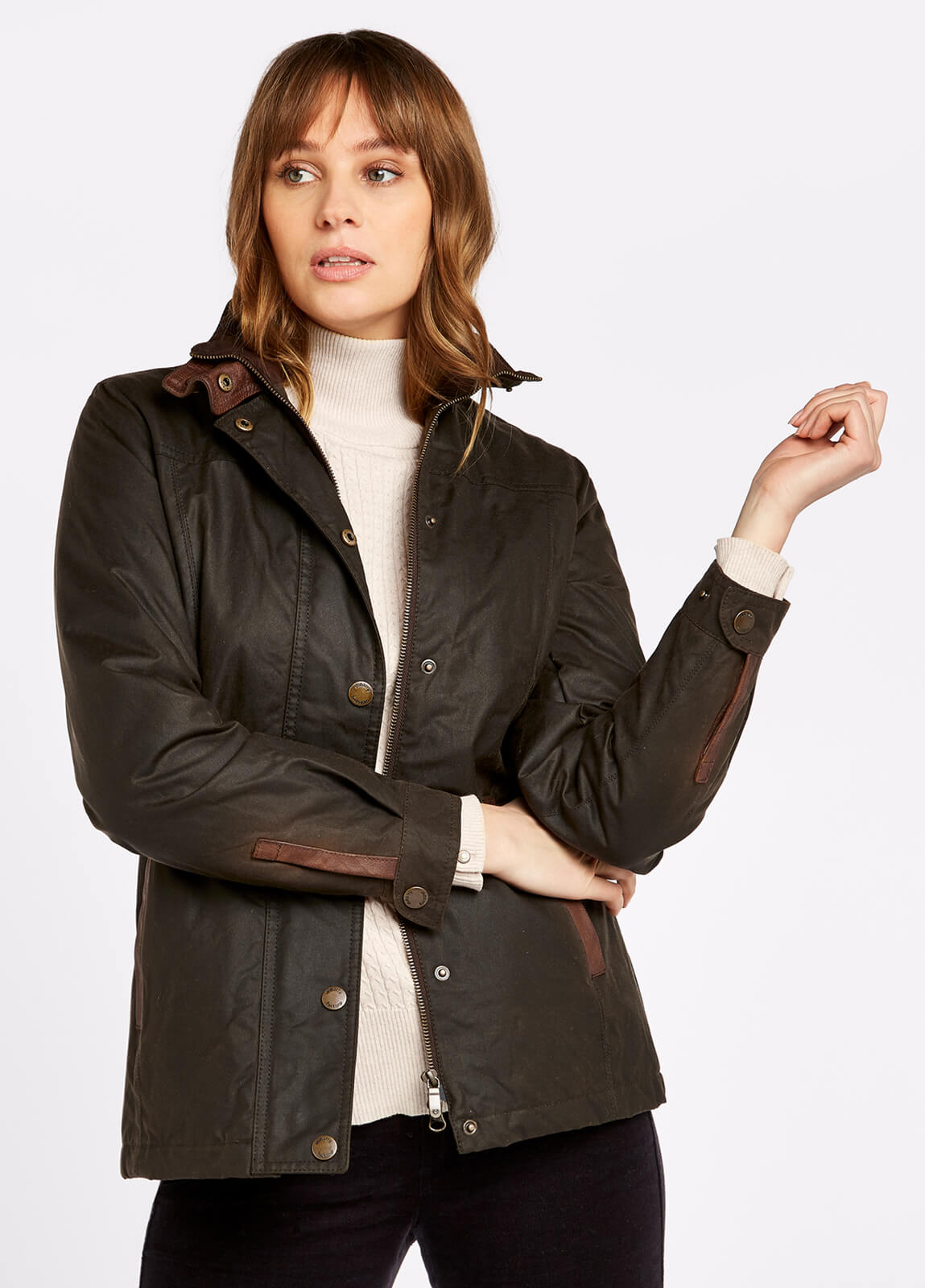 Dubarry_Mountrath_Waxed_Jacket_Olive_on_model