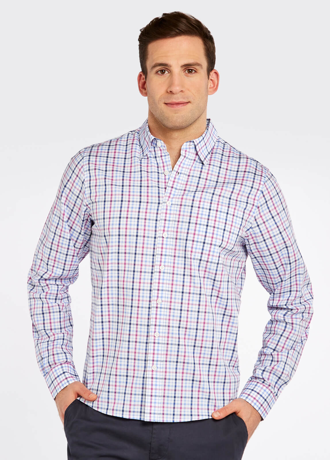 Dubarry_Rathdrum_Check_Shirt_Orchid_on_model