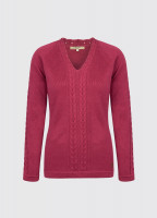 Carolan Women's V-neck Knitted Sweater - Merlot Multi