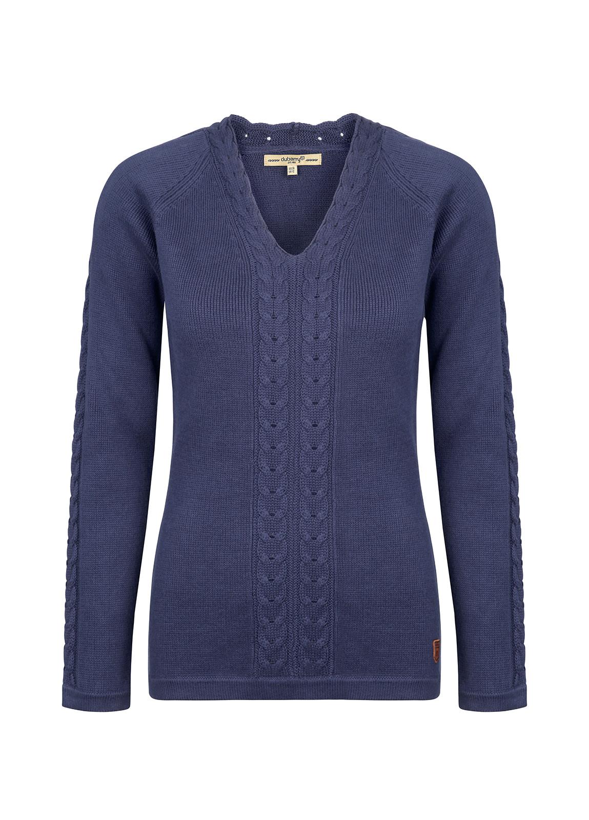 Carolan Women's V-neck Knitted Sweater - Navy