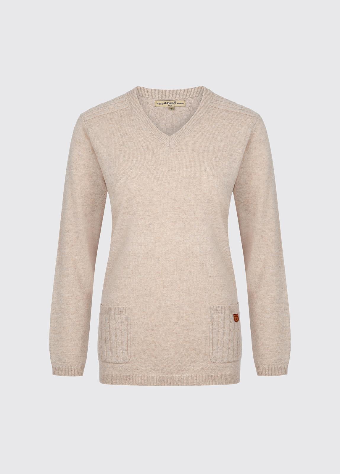 Flaherty Ladies Knitted Lambswool Jumper - Oatmeal