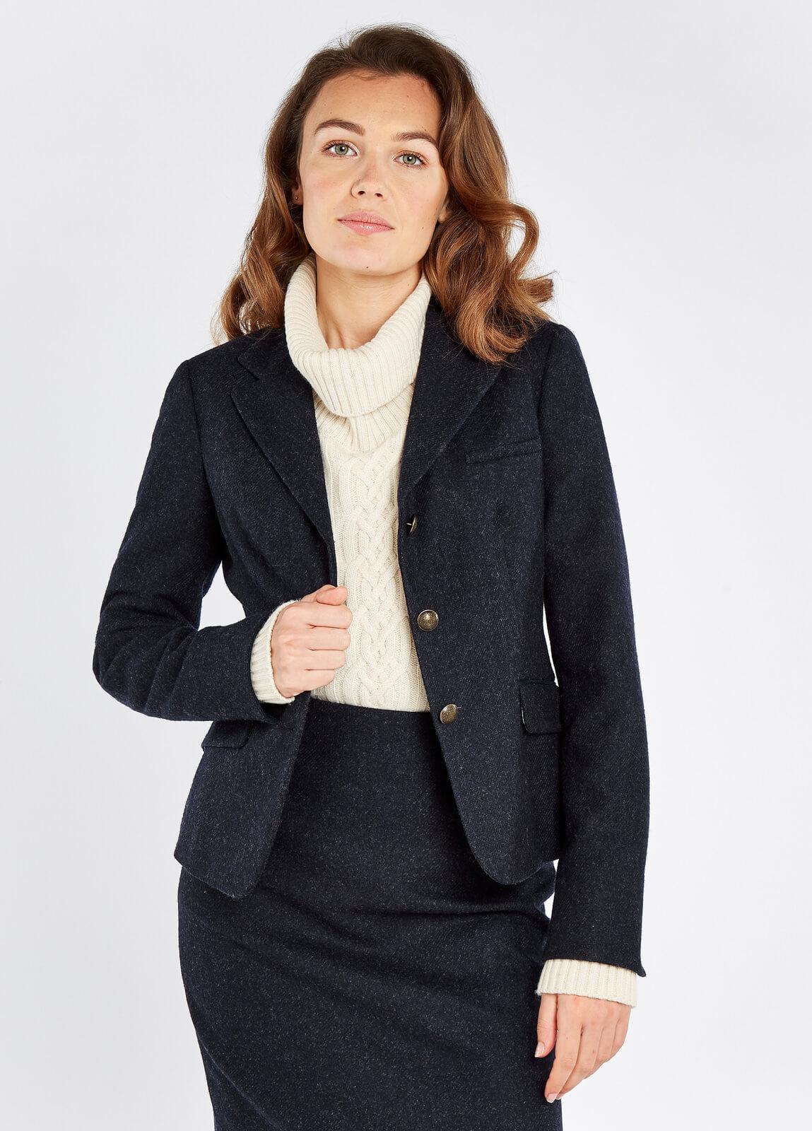 Dubarry_Buttercup_Tweed_Jacket_Navy_on_model