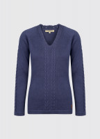 Carolan Women's V-neck Knitted Sweater - Navy