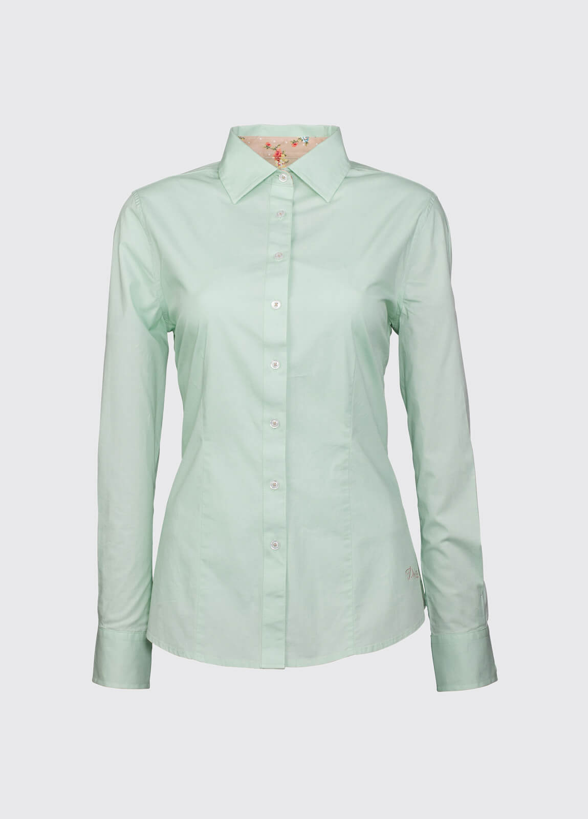 Petunia Floral Trim Shirt - Mint
